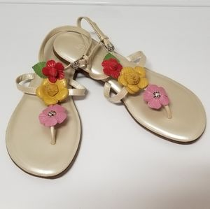 "NWT Brighton ""OZ"" Pearl Floral Leather Sandal"